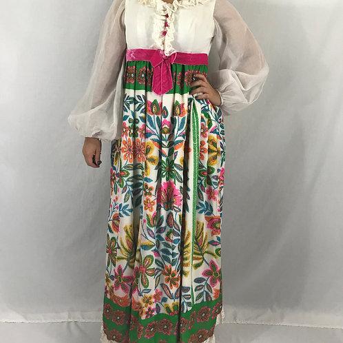 Flower Power Ruffled Long Sleeve Maxi Dress View 1