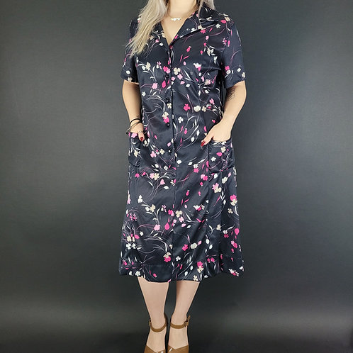Black Floral Pleated House Dress View 1