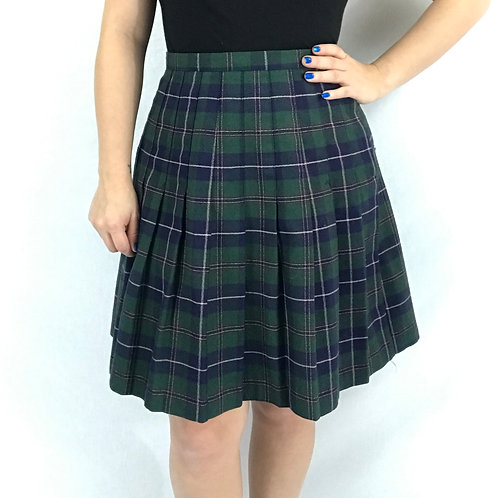 Pleated Plaid High Waist Above The Knee Skirt View 1