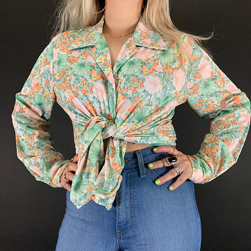 Floral Long Sleeve Wide Collar Button Up Blouse View 1