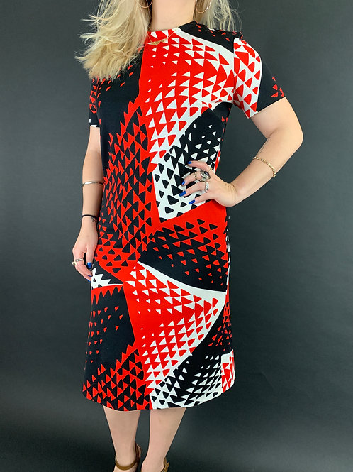 Red White And Black Op Art Dress View 1