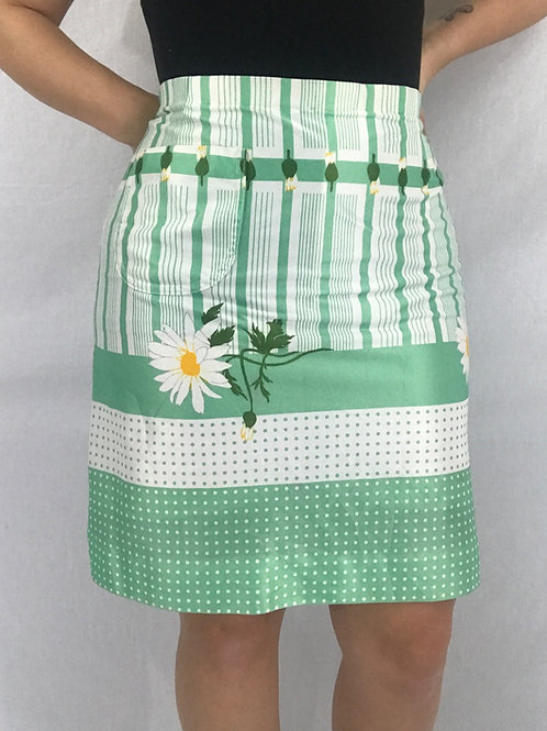 Green And White Daisy Polka Dot Striped Tennis Skirt View 1