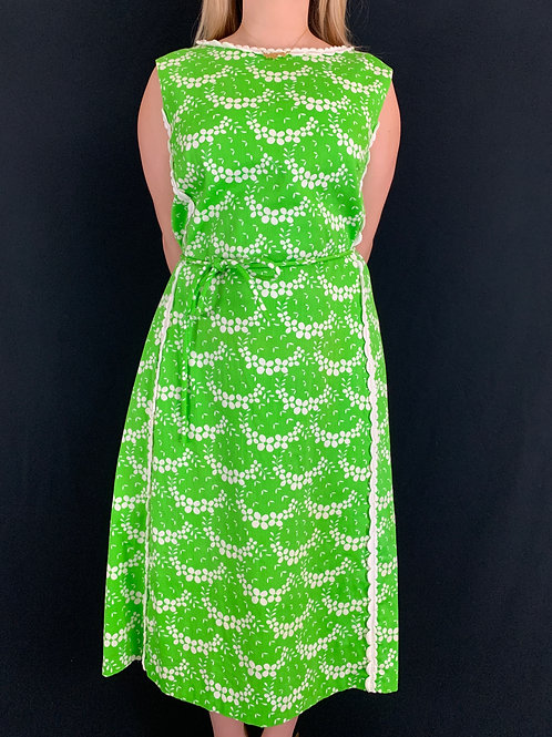 Green And White Floral Shift Dress View 1