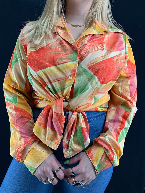 Abstract Geometric Button Up Blouse View 1