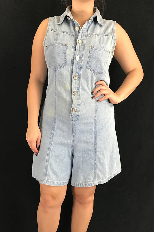 Light Washed Denim Sleeveless Romper View 1