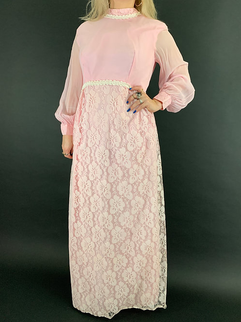 Pink And White Lace Long Sleeve Maxi Dress View 1