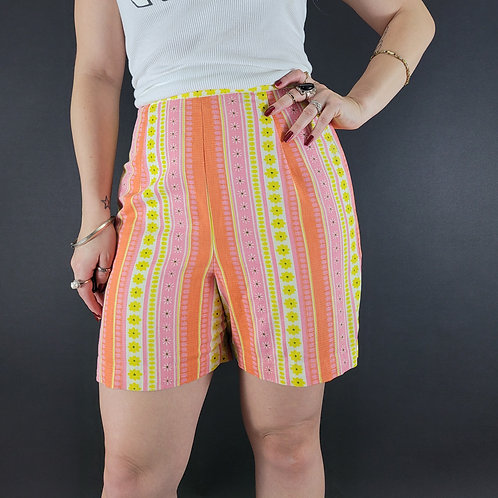 Colorful Flower Power Geometric Print High Waisted Shorts View 1