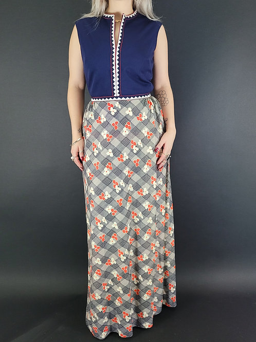 Sleeveless Flower Power Embroidered Maxi Dress View 1