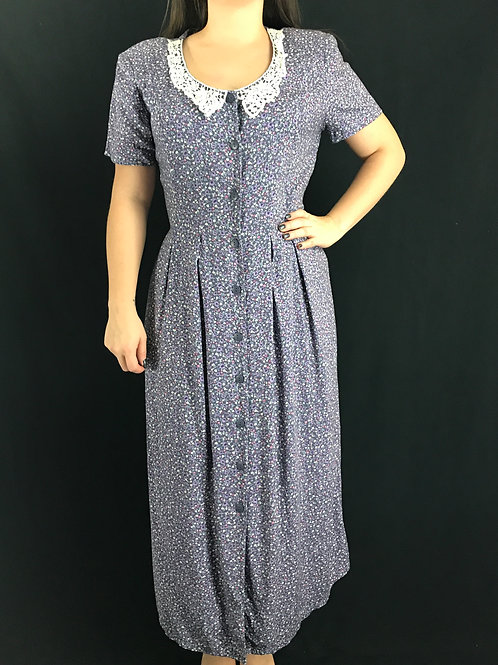 Floral Button Front Maxi Dress With Lace Bib Collar View 1