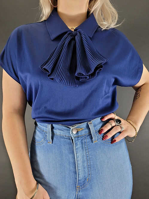 Navy Blue Blouse With Bow Collar View 1