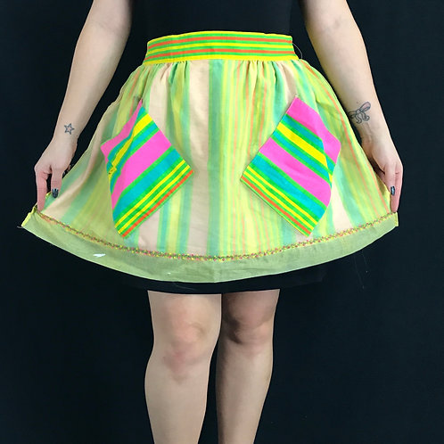 Neon Rainbow Striped Hostess Half Apron View 1