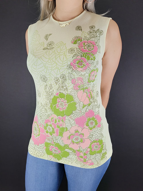 Mod Sleeveless Floral Top View 1