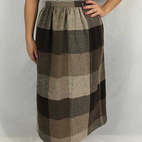 Shades Of Brown Checked Wool Skirt View 1