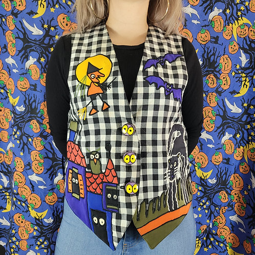 Gingham Halloween Hand Painted Silk Vest View 1