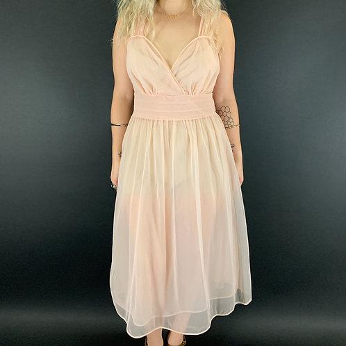 Pink Sheer Chiffon Nightgown View 1