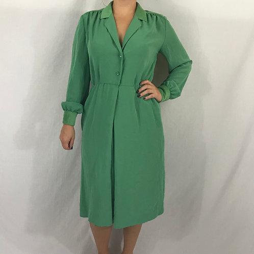 Green Long Sleeve Shirtwaist Midi Dress View 1