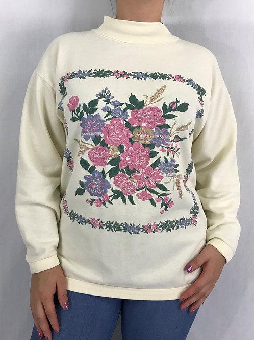 Garden Floral Mock Neck Pullover Sweatshirt View 1