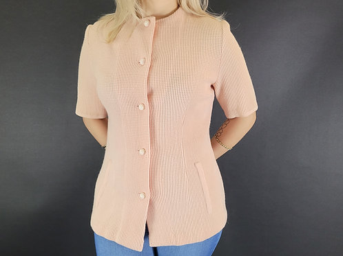 Pale Pink Knit Wool Top View 1