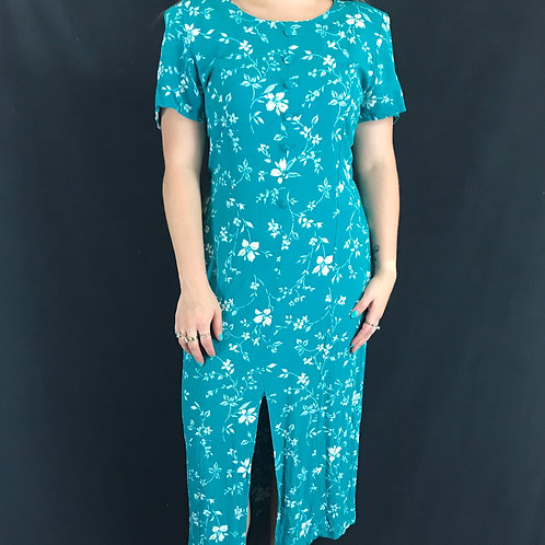 Teal With White Floral Rayon Dress View 1