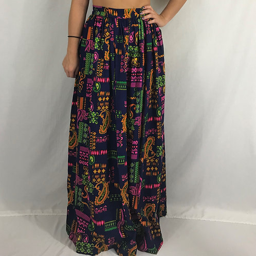 Neon Psychedelic Paisley Print Maxi Skirt View 1