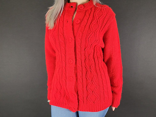 Red Cable Knit Cardigan Sweater View 1