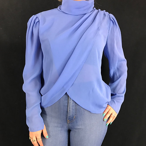 Light Blue Sheer Long Sleeve Blouse View 1