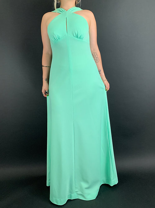 Mint Green Sleeveless Maxi Dress View 1