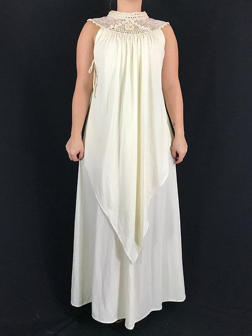 Cream Color Macrame Collar Sleeveless Maxi Dress View 1