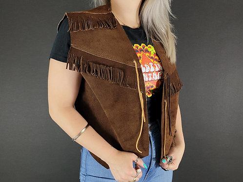 Dark Brown Suede Leather Fringe Vest View 1