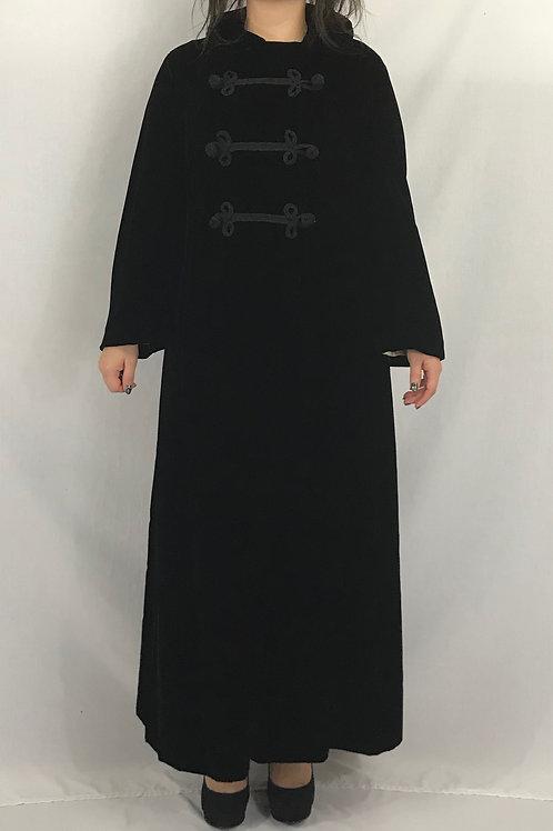 Black Oriental Style Velvet Full Length Evening Coat View 1