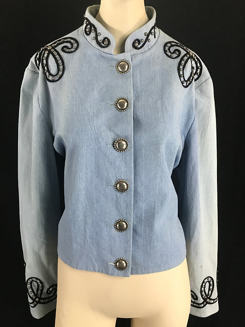 Light Blue Embroidered Western Jacket With Silver Buttons View 1