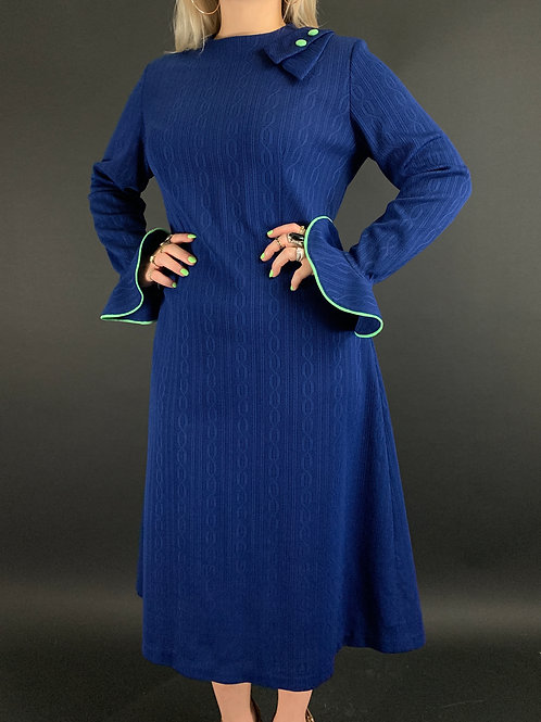 Mod Navy Blue With Lime Green Trim Long Sleeve Knit Dress View 1