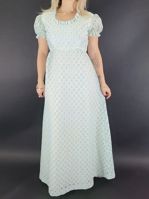 Turquoise And White Crochet Lace Maxi Dress View 1