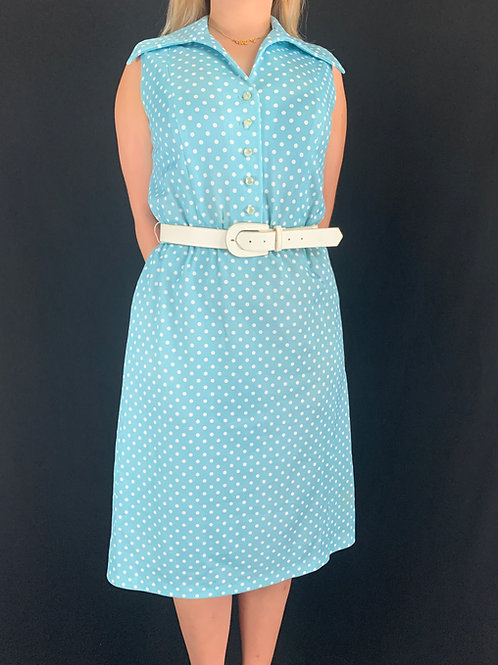 Turquoise And White Polka Dot Sleeveless Dress With Belt View 1