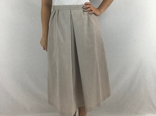 Tan And Cream Color Pin Stripe Midi Skirt With Front Inverted Pleat View 1