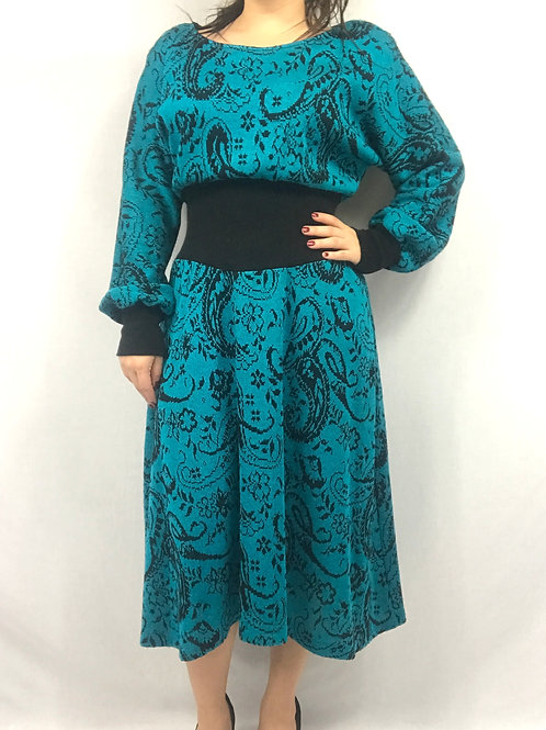 Teal Blue And Black Paisley Floral Sweater Dress View 1