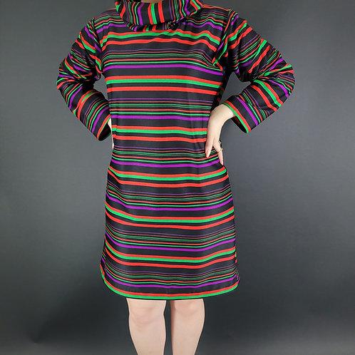 Mod Rainbow Striped Long Sleeve Cowl Neck Dress View 1