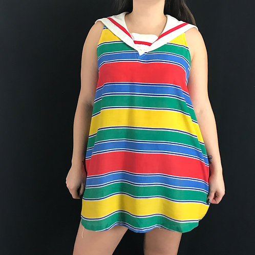 Sleeveless Rainbow Striped Sailor Collar Top View 1