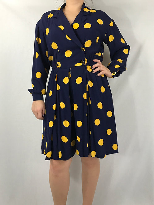 Navy Blue With Yellow Polka Dot Long Sleeve Romper View 1