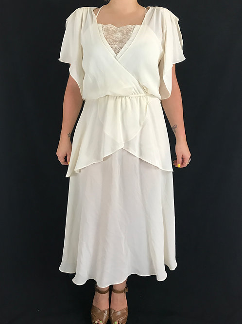 Ivory Layered Ruffled Sleeves Dress View 1
