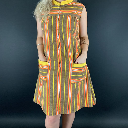 Front Zip Striped Sleeveless House Dress View 1