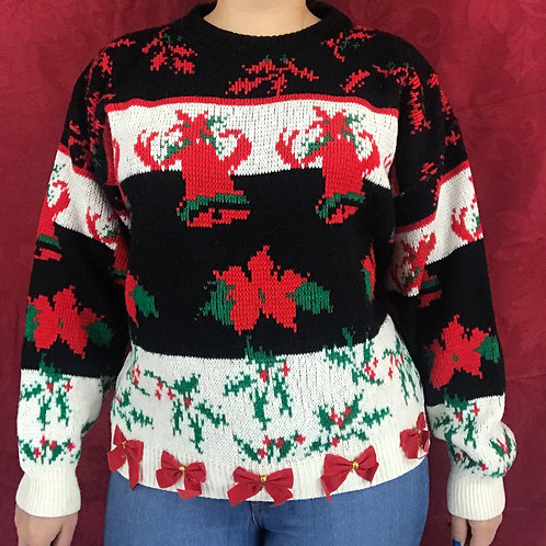 Christmas Bells Flowers And Holly Pullover Sweater View 1