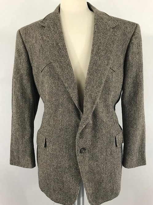 Men's Light Brown-Grey Western Blazer Jacket View 1