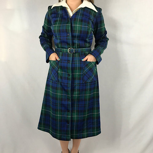 Green And Blue Plaid Dagger Collar Midi Dress With Belt View 1