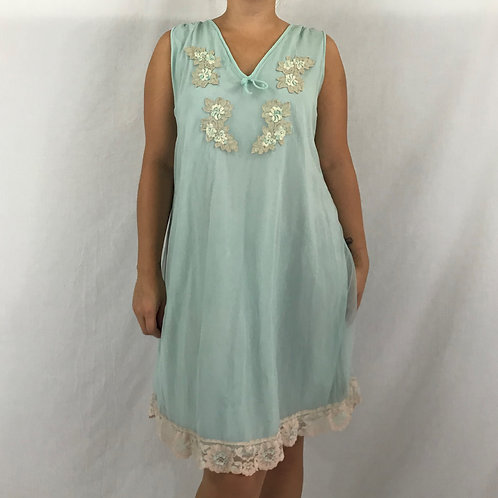 Mint Green Chiffon And Lace Nightgown With Lace Floral Appliques View 1