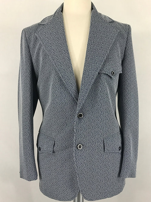 Men's Light Blue-Grey Western Blazer Jacket View 1