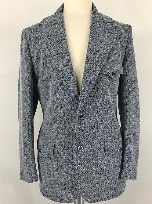 Men's Light Blue-Grey Western Blazer Jacket View 1