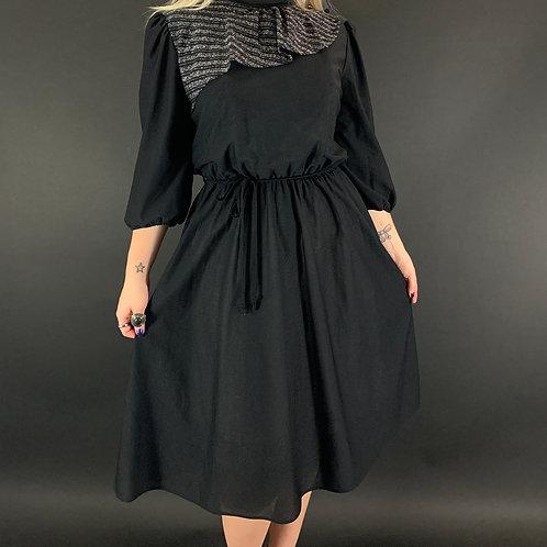 Black And Silver Ruffled Neckline Secretary Dress View 1