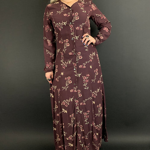 Old Burgundy Color Floral Button Front Maxi Dress View 1