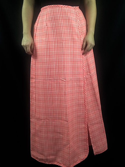 Red And White Plaid Maxi Wrap Skirt View 1